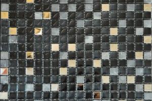 Мозаика стекло с камнем (на сетке) 15x15  (300х300х8)  BXGS089