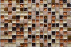 Мозаика стекло с камнем (на сетке) 15x15  (300х300х8) BXGS091