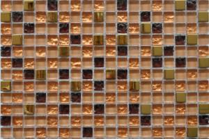 Мозаика стекло с камнем (на сетке) 15x15  (300х300х8) BXGS091A
