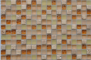 Мозаика стекло с камнем (на сетке) 15*15  (300х300х6) GS011