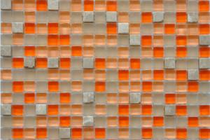 Мозаика стекло с камнем (на сетке) 15*15  (300х300х6) GS076