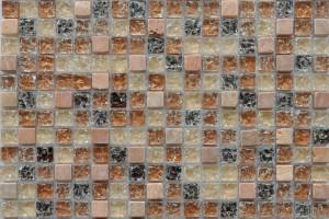 Мозаика стекло с камнем (на сетке) 15*15  (300х300х8) GS091B