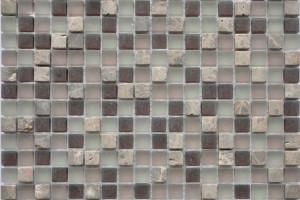 Мозаика стекло с камнем (на сетке) 15*15  (300х300х8) GS094