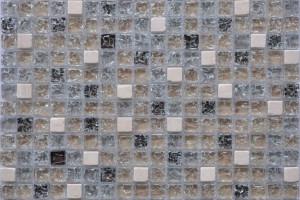 Мозаика стекло с камнем (на сетке) 15*15  (300х300х6) GS100B