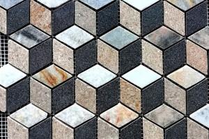 Мозаика из базальта и мрамора 48*48*7 (300*300) MZ117