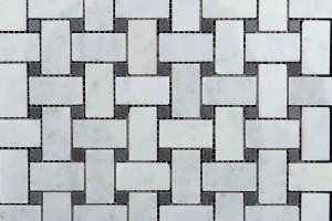 Мозаика из базальта и мрамора 25*48*15*15*7 (300*300) MZ105
