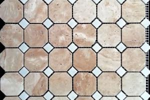 Мозаика из травертина и мрамора  15*15*48*48*7 (300*300) MZ111