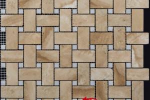 Мозаика из травертина и мрамора 25*48*15*15*7 (300*300) MZ059